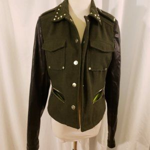 JuJu moto jacket olive w/faux leather sleeves xs/s